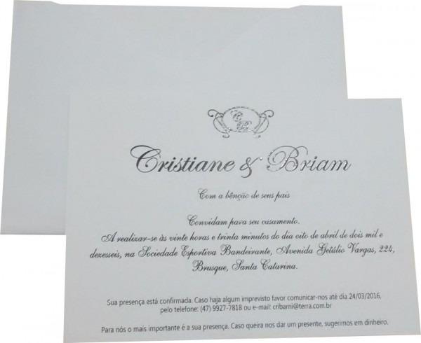 Convites convite melilla md telado cartão 180g  21x15 cm  casamento