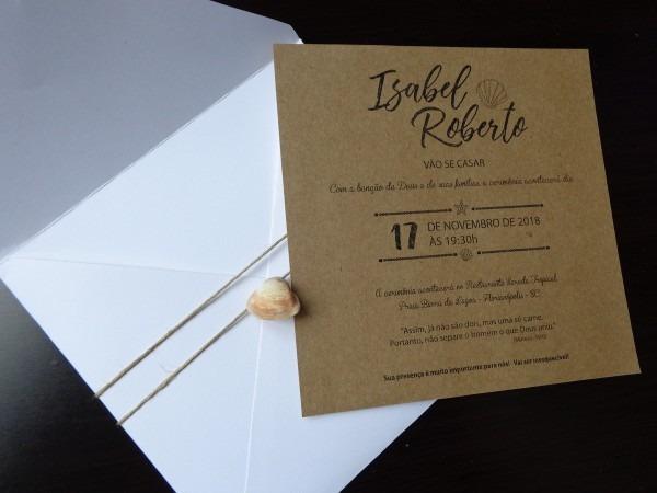 Convite casamento envelope branco no elo7