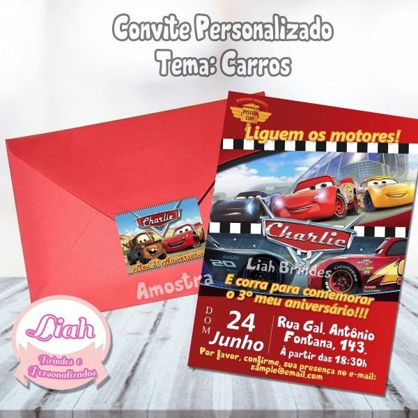 Convite carros 10x7cm + envelope e etiqueta no elo7