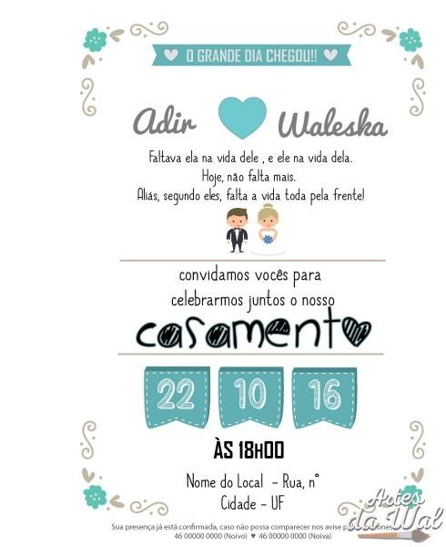 Convite de casamento (arte digital) no elo7