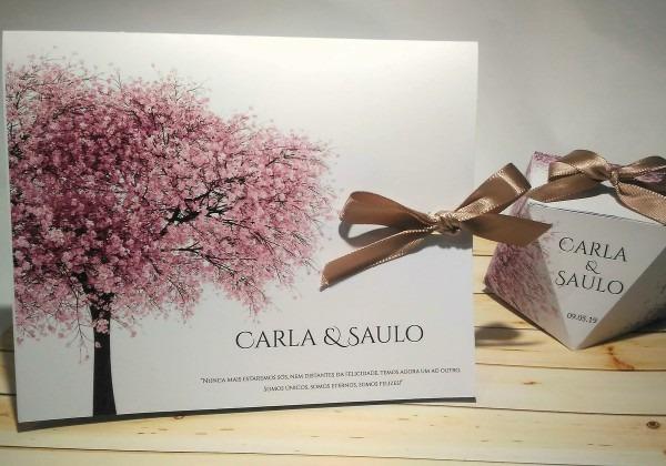 Convite casamento Árvore rosa no elo7