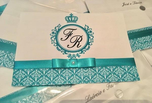 Convite casamento com arabesco e barrado azul tifany no elo7