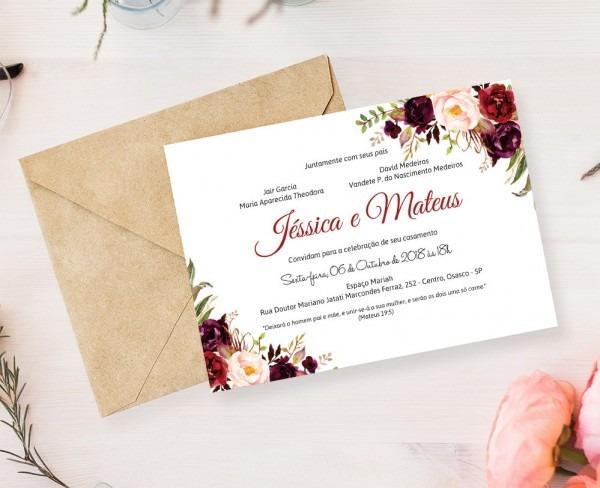 Convite casamento floral marsala
