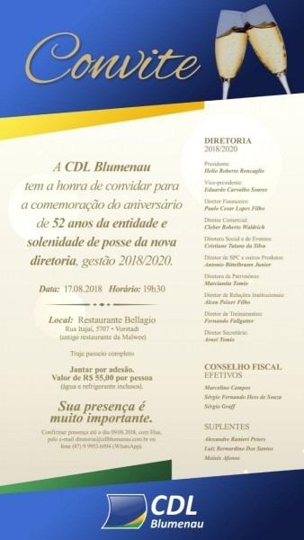 Convite  jantar de aniversário da cdl blumenau e posse da diretoria
