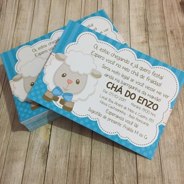 Convite chá de bebê ovelhinha azul no elo7