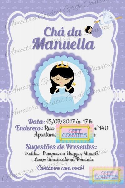 Convite chá de bebê princesa p  imprimir no elo7