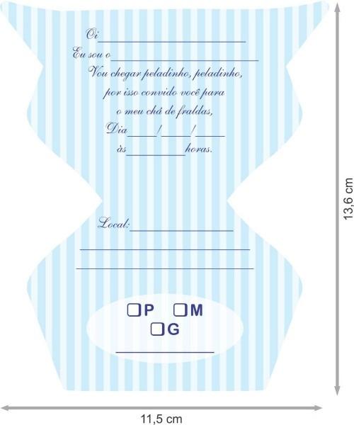 Convite chá de fraldas masculino (com 50 unidades)