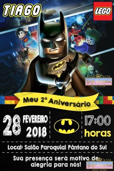 Convite chalkboard lego batman