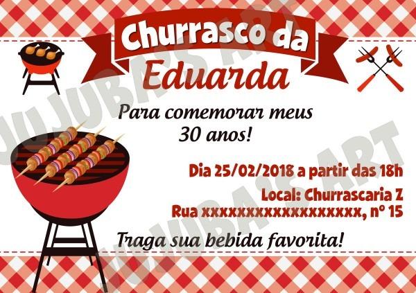 Convite churrasco com envelope no elo7