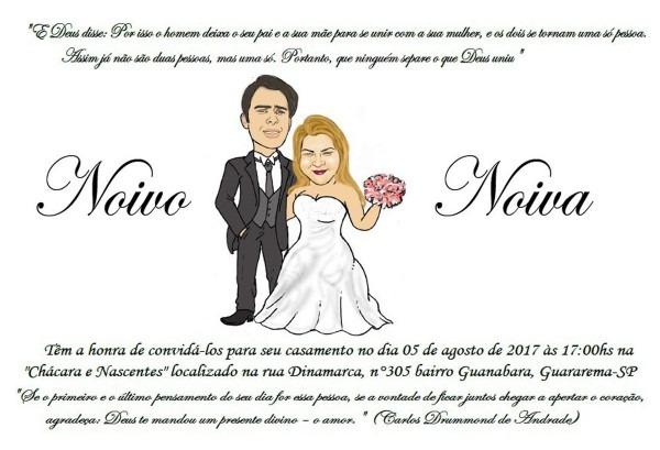 Convite com caricatura grÁtis dos noivos no elo7