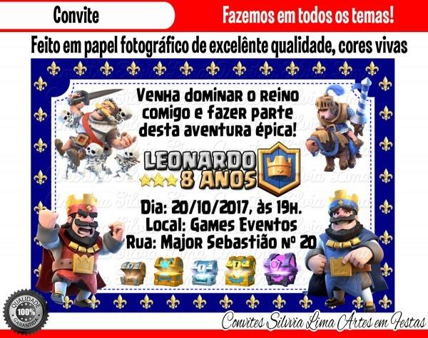 Convite clash royale no elo7