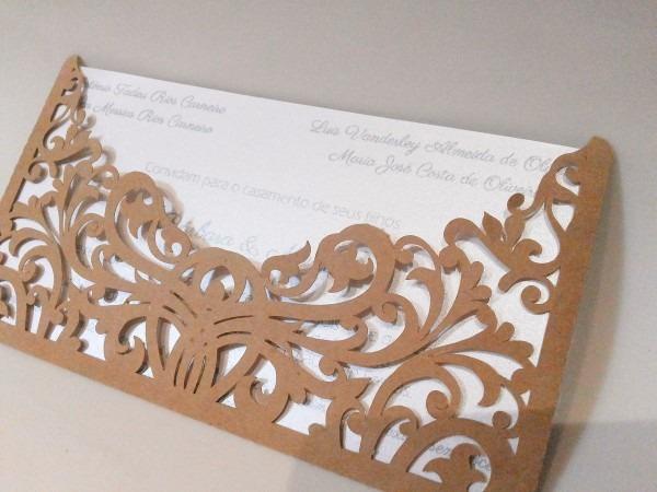 Convite com envelope rendado 18x10 no elo7