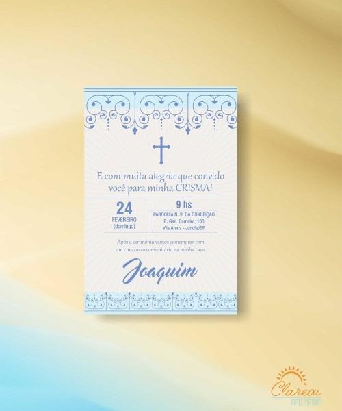 Convite crisma menino cruz azul