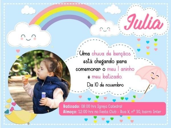 Convite de aniversario para criança tema chuva de amor