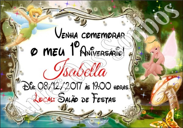 Convite de aniversário sininho tinkerbel no elo7