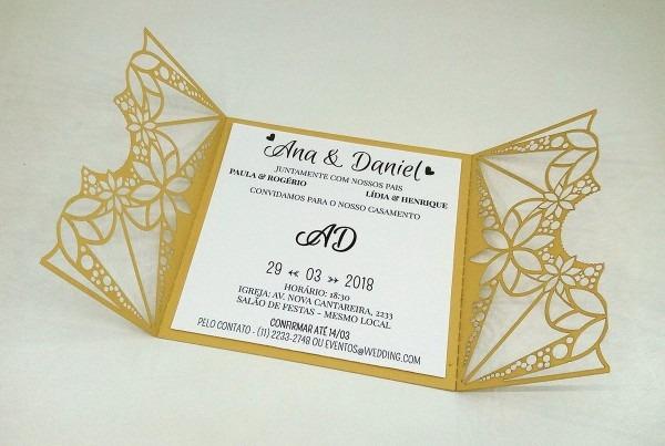 Convite de casamento a laser modelo 07 dourado no elo7