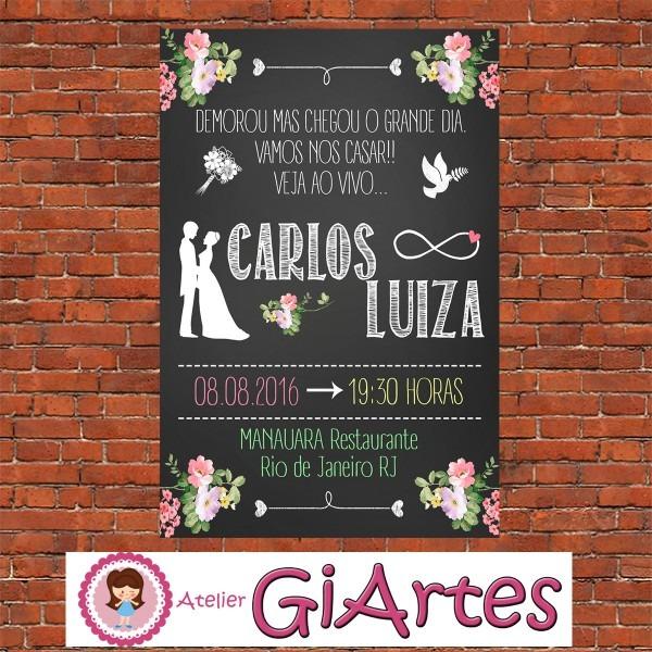 Convite de casamento chalkboard digital no elo7