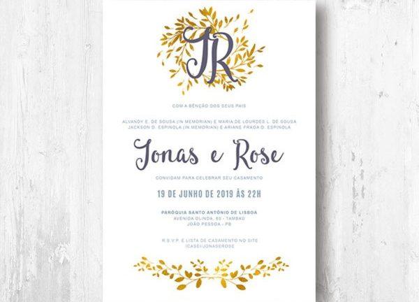 In memorian convite de casamento