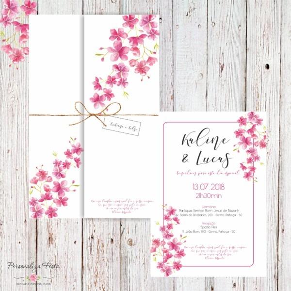 Convite de casamento flor de cerejeira no elo7