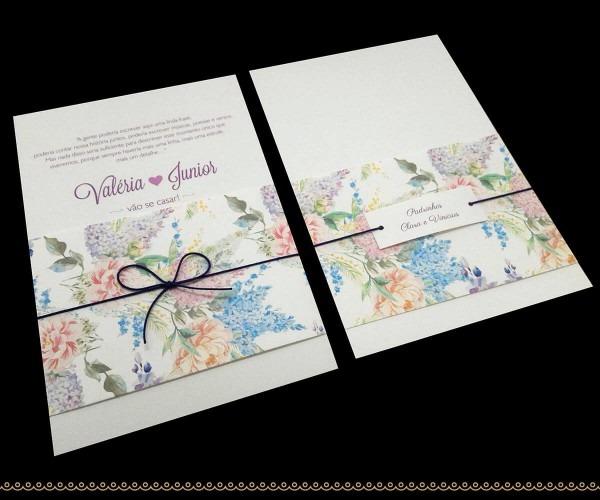 Convite de casamento floral c  faixa no elo7