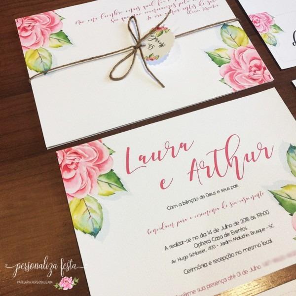 Convite de casamento floral no elo7
