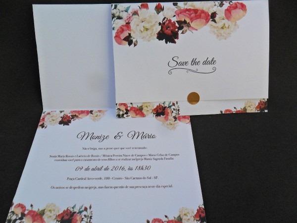 Convite de casamento frete grátis (140n) tamanho 28x20