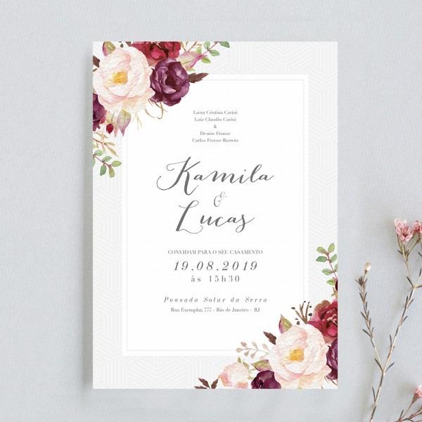 Arte para convite de casamento marsala flowers – papel e letra