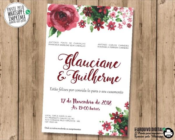 Convite de casamento marsala digital no elo7