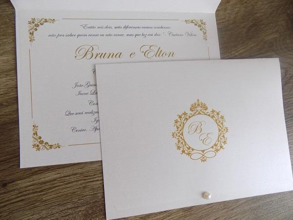 Convite de casamento papel perolado(100un)frete grátis