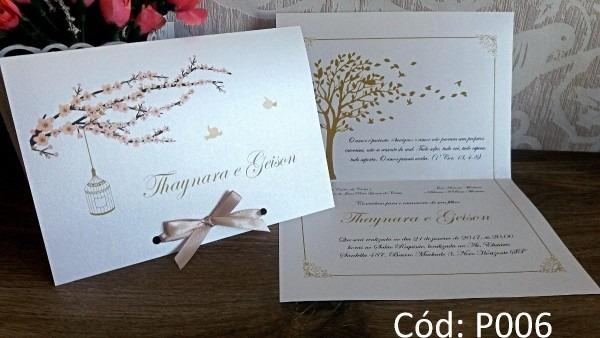 Convite de casamento papel perolado (250un) frete grátis