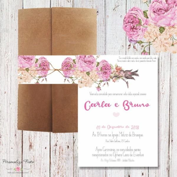 Convite de casamento rústico floral no elo7