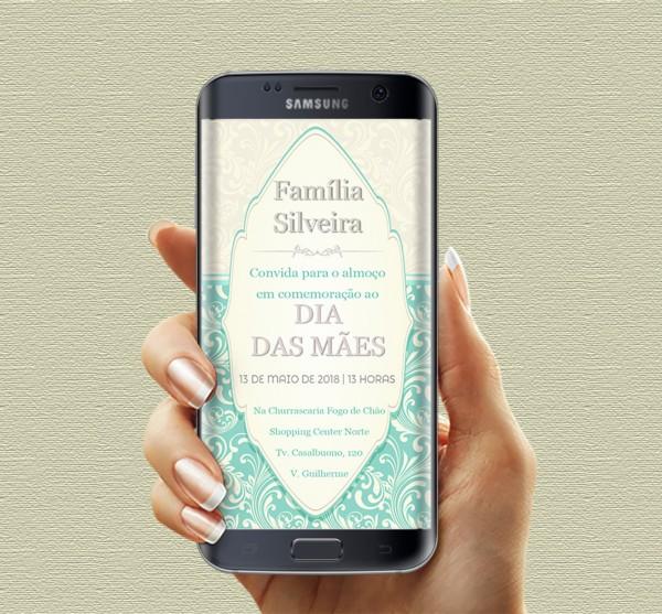 Convite de dia das mÃes para celular whatsapp no elo7