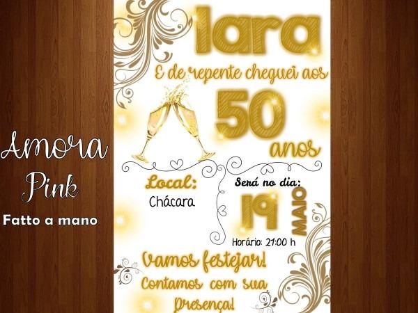 Convite digital 15 20 30 40 50 60 70 80 anos dourado no elo7