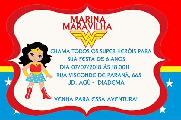 Convite digital aniversário mulher maravilha!!!