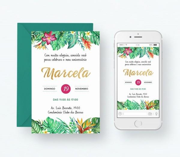 Convite digital aniversario tropical floral no elo7