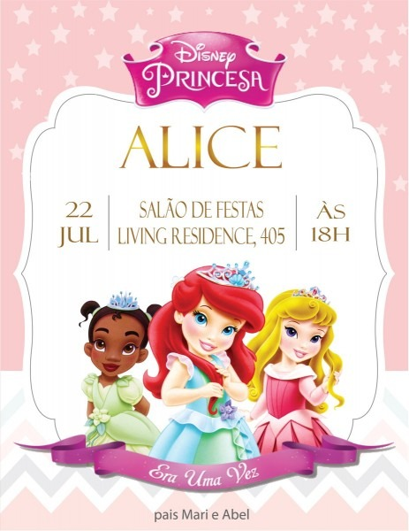 Convite digital baby princesas modelo 2 no elo7