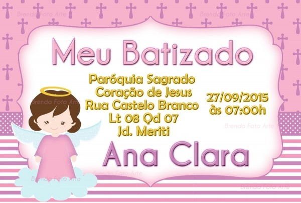 Convite batizado menina no elo7