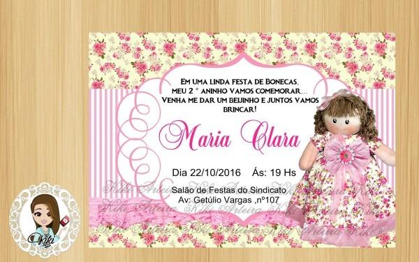 Convite digital boneca de pano no elo7