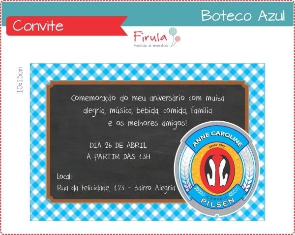 Convite digital boteco azul no elo7