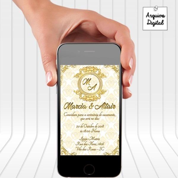 Convite digital casamento dourado modelo 2 no elo7