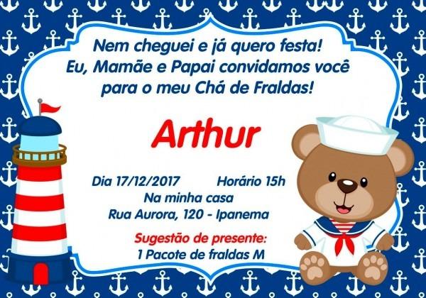 Convite digital chá de fraldas ursinho marinheiro