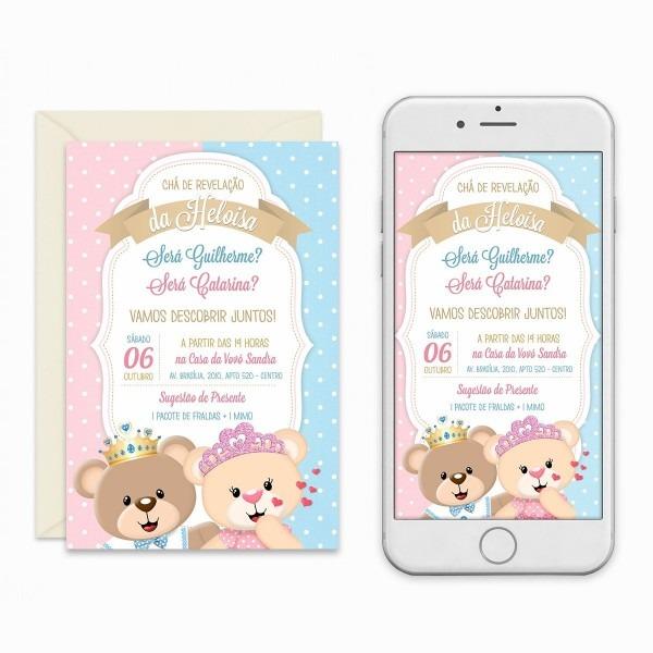 Convite digital chá revelação ursinhos passarinhos imprimir