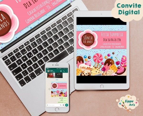Convite digital fábrica de doces no elo7