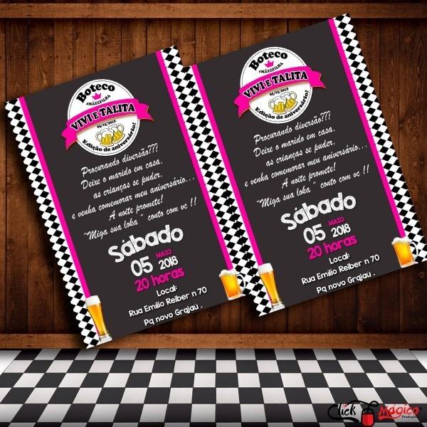 Convite digital festa boteco e chá bar rosa pink