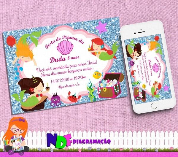 Convite digital festa do pijama sereias no elo7