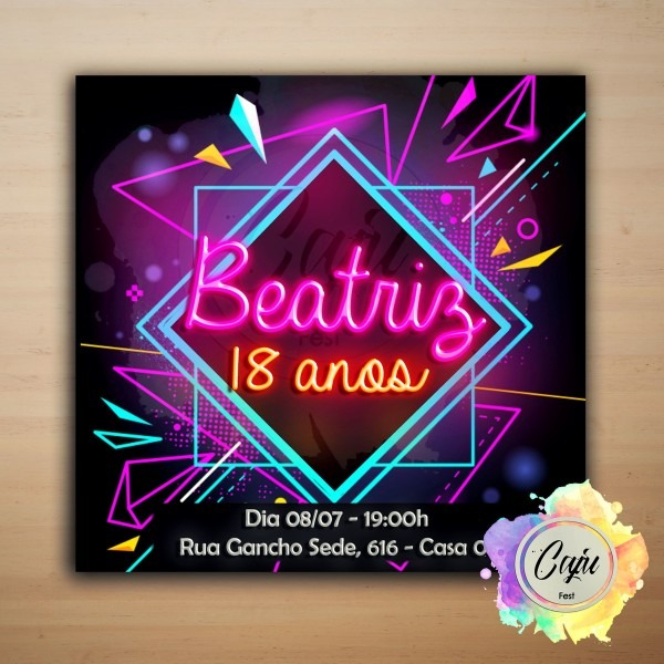 Convite digital festa neon no elo7