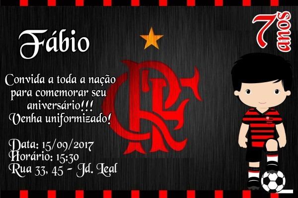 Convite digital flamengo no elo7