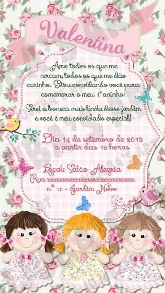 Convite digital jardim de bonecas de pano para whatsapp