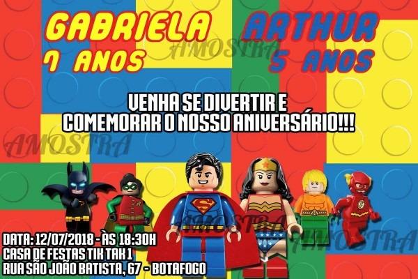 Convite digital lego liga da justiÇa no elo7
