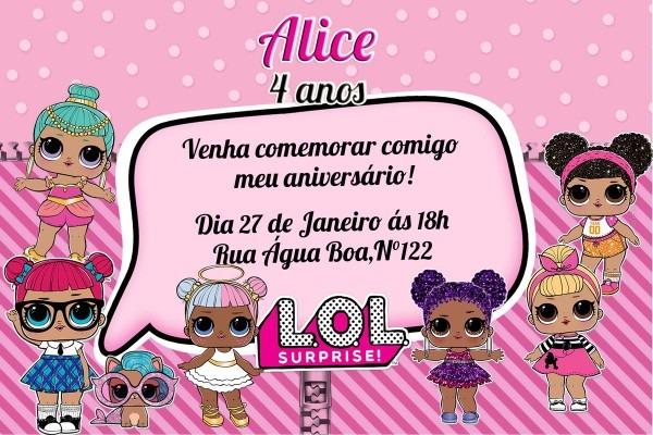 Convite digital lol surprise no elo7